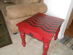 Ary Ann's Place: Darling Red Chevron end table