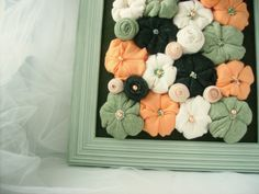 OOAK Fabric flower wall art  green peach pink white  3D by mapano, €35.00