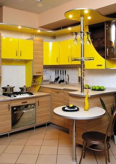 "50 Awesome Yellow Kitchen Designs That You Have To See - ""The Tennessean"" recently ran an article titled ""A home's true colors can affect your mood."" Therein, it was reported that when one couple decided ""to. Home Interior Design, Kitchen Furniture Design, Kitchen Room Design, Custom Kitchens, European Home Decor, Modern Kitchen Design, Yellow Kitchen Designs, Home Decor Styles, Home Decor"