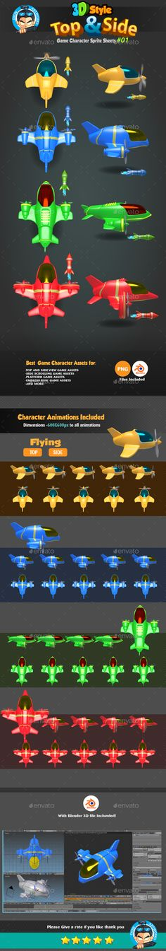 3D Plane Top and Side View Character Sprites 01 - Sprites Game Assets