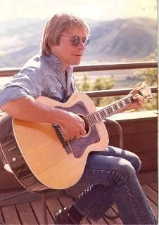 John Denver playing guitar on his Aspen deck. John Denver, Country Boys, Country Music, American Country, Aspen, Guild Acoustic Guitars, Colorado, Thing 1, I Love Music