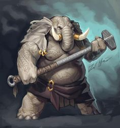 Sketchtember: Elephant by Trollfeetwalker on DeviantArt Fantasy Character Design, Character Design Inspiration, Character Concept, Character Art, Dungeons And Dragons Characters, Dnd Characters, Fantasy Characters, Creature Concept Art, Creature Design