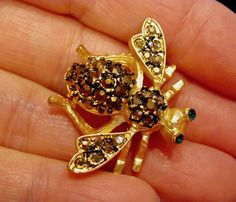 Iconic JOAN RIVERS Signed Bronze Marcasite Crystal BEE Pin Classic Collection Gold Tone Bee Bug Insect Brooch Women's Costume Jewelry In Box by VintagePolice4U on Etsy