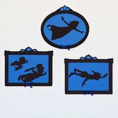 Peter Pan Silhouette Wall Decorations - you could use these for T-shirt templates.  Be cute for the Tinker Bell Half or the Never Land 5K