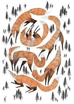 There's been some scary mutation going on in this forest, and the foxes have grown massive!! Look out! It's also on my society6!  http://society6.com/ZannaGoldhawk/Giant-forest-of-foxes#1=45