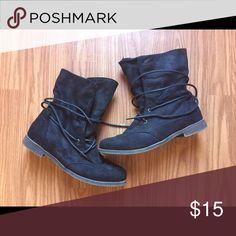 """combat"" boots super comfy with tie around laces, no scuffs Shoes Combat & Moto Boots"