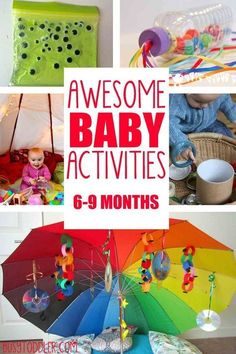 EASY BABY ACTIVITIES: awesome baby activities for ages months; learning activities for babies; ways to entertain a baby (Diy Baby Stuff) Baby Sensory Play, Baby Play, Fun Baby, Baby Messy Play Ideas, Diy Sensory Toys For Babies, Baby Sensory Bags, Infant Activities, Activities For Kids, 8 Month Old Baby Activities