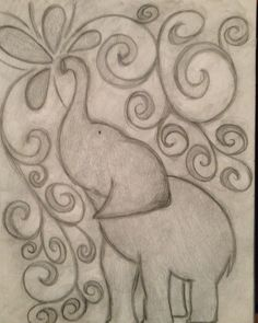 Inspired elephant pencil drawing