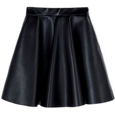MSGM Pleated Flared Mini Skirt ($285) ❤ liked on Polyvore featuring skirts, mini skirts, bottoms, black, faldas, black skirt, black a line skirt, black faux leather skirt, black mini skirt and short skirts