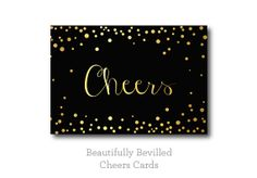 Black and Gold Confetti Cheers Card by BeautifullyBevilled on Etsy, $15.00