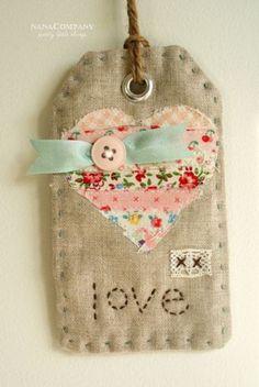 cute little fabric tag/Christmas ornament