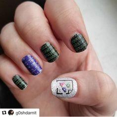 g0shdarnit(IG) wearing our Computing nail wraps (discontinued). Get 'em before they're gone! #EspionageCosmetics #NerdManicure #NerdNails #NailArt #NailWraps #Nailspiration #Computing #ComputerNails #Tech #TechNails #Geek