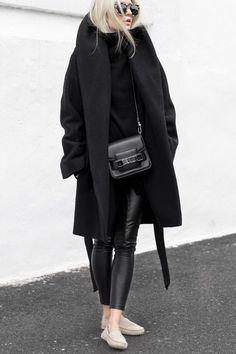 Latte Moccasins M.GEMI FELIZE -- Black coat, leather pants, knit ARITZIA - Black bag PROENZA SCHOULER - Sunnies PRISM