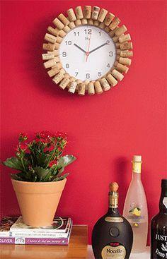 decoraçao rolhas cortiça moldura relógio