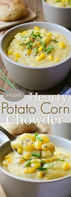 Vegan Potato Corn Chowder is a thick and hearty, dairy-free recipe.  It takes only one pot and a few simple ingredients you have in your kitchen.  This rich and chunky soup will keep you warm all winter long! #vegan #dairyfree #veganpotatosoup #vegansoup