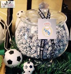 "Photo 1 of Soccer / Birthday ""Soccer themed birthday"" Soccer Birthday Parties, Football Birthday, Sports Birthday, Soccer Party, Soccer Ball, 4th Birthday, Birthday Ideas, Soccer Centerpieces, Centerpiece Ideas"