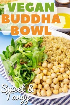 This easy (and animal-friendly) lunch and dinner Buddha bowl from HurrytheFoodUp hits all the right spots – grains, greens and a legume! What's not to like? It's sweet, tangy, and is ready in less than 25 minutes for a vegan weeknight meal or lunch recipe you're sure to enjoy! #vegan #recipe #lunch #dinner #buddhabowl #meatless