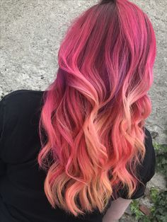 Neon hair Neon electric Pulpriot Fire hair Balayage