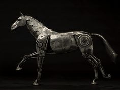 Metal steampunk horse sculpture