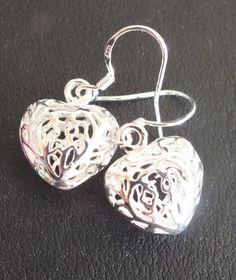 925 Sterling Silver Filigree Heart Earrings by MoodTherapy on Etsy
