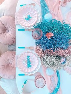 Gorgeous Turquoise and Pink Mermaid-inspired Guest Table from a Turquoise and Pink Mermaid Birthday Party on Kara's Party Ideas | KarasPartyIdeas.com (16) Mermaid Table Decorations, Balloon Decorations, Underwater Party, Mermaid Balloons, Mermaid Kids, Sprinkle Party, Mermaid Parties, Backdrops For Parties, Mermaid Birthday
