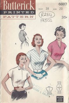 1950s Vintage Sewing Pattern BLOUSE B38 shirt pink white stripe bow color illustration print ad