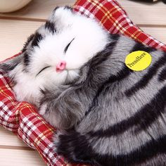 Lovely Simulation Animal Doll Plush Sleeping Cats Toy with Sound Kids Toy  Birthday Gift Doll Decorations stuffed toys kidstime 8576fe1a17