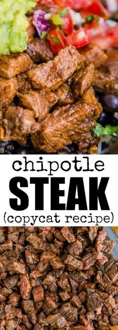 This copycat Chipotle Steak recipe tastes just like the real deal! You'll ha… This copycat Chipotle Steak recipe tastes just like the real deal! You'll have 2 cups of marinade, enough for 10 pounds of steak. Freeze half for later! via Culinary Hill Chipotle Steak Recipes, Skirt Steak Recipes, Meat Recipes, Mexican Food Recipes, Cooking Recipes, Healthy Recipes, Chipotle Burrito, Recipes For Steak, Chipotle Restaurant Recipes