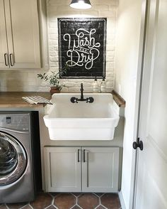 Kind of obsessed with laundry room designs these days... Chk out ours on my blog (link in profile). Create inspiration in spaces where you need it the most- for me it's wherever there's laundry!