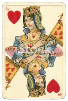 Queen of Hearts rare Dondorf Shakespeare antique playing card Royalty Free Stock Photo