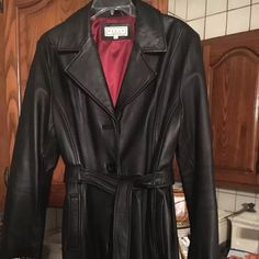 Genuine leather full length trench Beautiful full length genuine leather jacket with belt. Only worn 3 times. Originally purchased for $450! Pelle studio Jackets & Coats Trench Coats