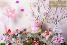 Magical dessert table at a Fairy Woodland Party Hmmm.maybe an garden/fairy for the misses. Fairy Birthday Party, First Birthday Parties, Birthday Party Decorations, Girl Birthday, Party Themes, Party Ideas, Birthday Ideas, Table Decorations, Fairy Baby Showers