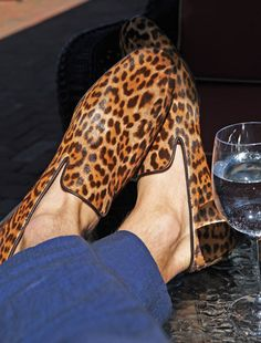 YSL Leopard Print Loafers