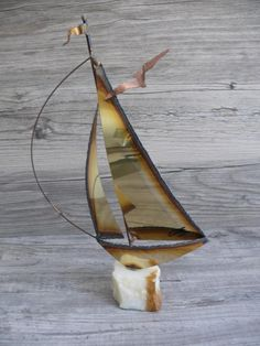 Vintage era metal artworkOriginal Mario tall approx wideBrass, Copper & OnyxSailboat SculptureArtist Signed Vintage sculpture some light signs of age which include so discolora. Vintage Nautical Decor, Metal Artwork, Sailboat, Vintage Signs, Brass, Copper, Mario, Sculpture, The Originals