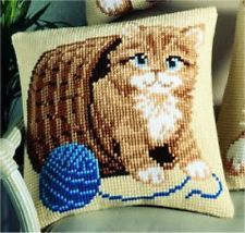 """Vervaco CAT / KITTEN IN A BASKET Chunky Cross Stitch Cushion Front Kit 16"""" X 16"""""""