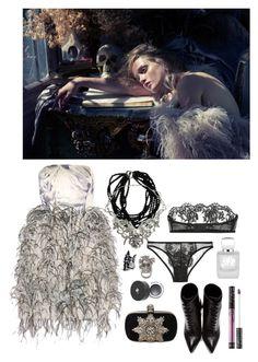 """Upon Greeting Death"" by ghoulnextdoor ❤ liked on Polyvore featuring Oscar de la Renta, Alexander McQueen, Lancôme, Yves Saint Laurent, I.D. SARRIERI, Kat Von D, Rouge Bunny Rouge and Macabre Gadgets"