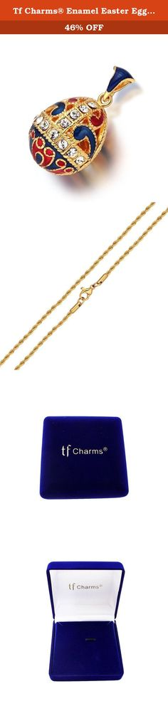 Tf Charms® Enamel Easter Egg Pendant Necklace 18 Inches with 18k Gold Color (Blue). Easter Egg Pendant Charm Necklace 18 Inches. Ideas from UK & Russia Royal Jewellery,swarovski crystal elements. Pendant is for brass with gold plated,chain is stainless steel with 18K gold plated that keeps the color one year. Blue Velvet Gift Box Packing as a Wonderful Gift to your Girlfriend,Lover and Family. All of our Products are Protected by our TF Charms® Trade Mark and Hold Copyright Rights.