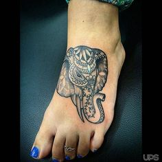 Custom designed and tattooed this patterned Elephant head today on my clients foot . Elephant Head Tattoo, Elephant Tattoo Design, Trendy Tattoos, Cool Tattoos, Tatoos, Mandala Elefant Tattoo, Wrist Tattoo Cover Up, Foot Tattoos For Women, Neue Tattoos