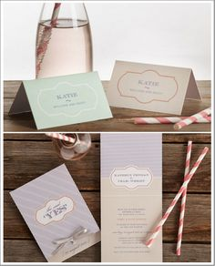 Invitations, Place cards, and Straws: With Love- Fine Wedding Stationery
