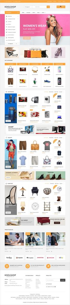 Buy KoolShop- Kute Opencart Theme by kutethemes on ThemeForest. KoolShop is a modern, clean and professional multi-purpose Opencart theme, It is fully responsive, it looks stunning . Website Design Inspiration, Design Ideas, Ecommerce Web Design, Ecommerce Websites, Design Web, Website Themes, Website Designs, Template Site, Web Design