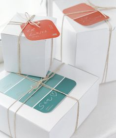 24 Creative Gift Wrapping Ideas - Even paint chips can work!