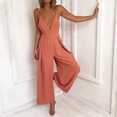 New V neck backless long wide coral jumpsuit strap orange spring summer romper - Jumpsuits & Rompers