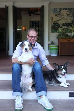 Food Network Stars - Alton Brown with Sparky and Daisy!  So smart and such a funny guy!