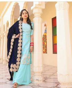 Grey Suit Combinations, Punjabi Girls, Designer Punjabi Suits, Indian Outfits, Sari, Blue, Traditional, Beautiful, Fashion