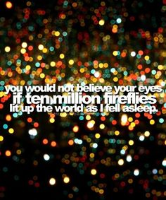 Fireflies...One of my favorite childhood memories! Catch them then peek into your hand to see him glow. Beaverton, MI