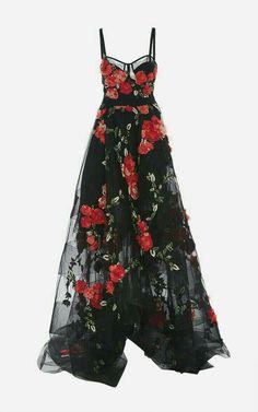 Spaghetti Straps Black Tulle Garden Prom Dresses with Flowers - Moda Evening Dresses, Prom Dresses, Formal Dresses, Corset Dresses, Long Dresses, High Low Dresses, Lace Dress, Tulle Gown, Silk Gown