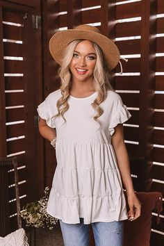 Boardwalk Brunch Babydoll Tunic Top in White Basic Outfits, Cool Outfits, Casual Outfits, Fashion Outfits, Modest Summer Fashion, Late Summer Outfits, Southern Outfits, Southern Fashion, Southern Style