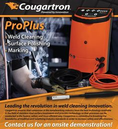 #Cougartron ProPlus #Weld #Cleaner is significantly faster, easier and safer at maintaining stainless steel – all in a remarkably compact and ergonomic form-factor.  More on:  http://www.cougartron.com/