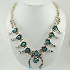 [4521] sterling silver turquoise navajo squash blossom necklace by darwin williams