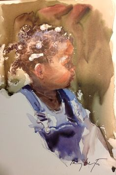 Mary Whyte's watercolor. 6x9 portrait. Won by me at National Portrait Conference 2014 in Reston, VA.